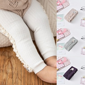 2020 Hot-selling Baby Girl Stretch Leggings Pants Spring and Autumn Toddler Child Knitting Trousers Pink Grey Color
