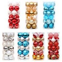 Boules de noël multicolores 6cm, 24 pièces, ornements d'arbre de noël suspendus, pour fête de mariage, décoration familiale, cadeau de nouvel an