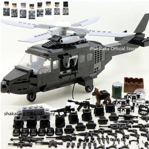 Image 1 - SWAT wojskowa armia WW2 helikopter siły specjalne zespół żołnierz CS klocki klocki figurki prezenty edukacyjne zabawki chłopcy zestaw