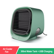 Air Cooler Fan Mini Desktop Air Conditioner with Night Light Mini USB Water Cooling Fan Humidifier Purifier Multifunction