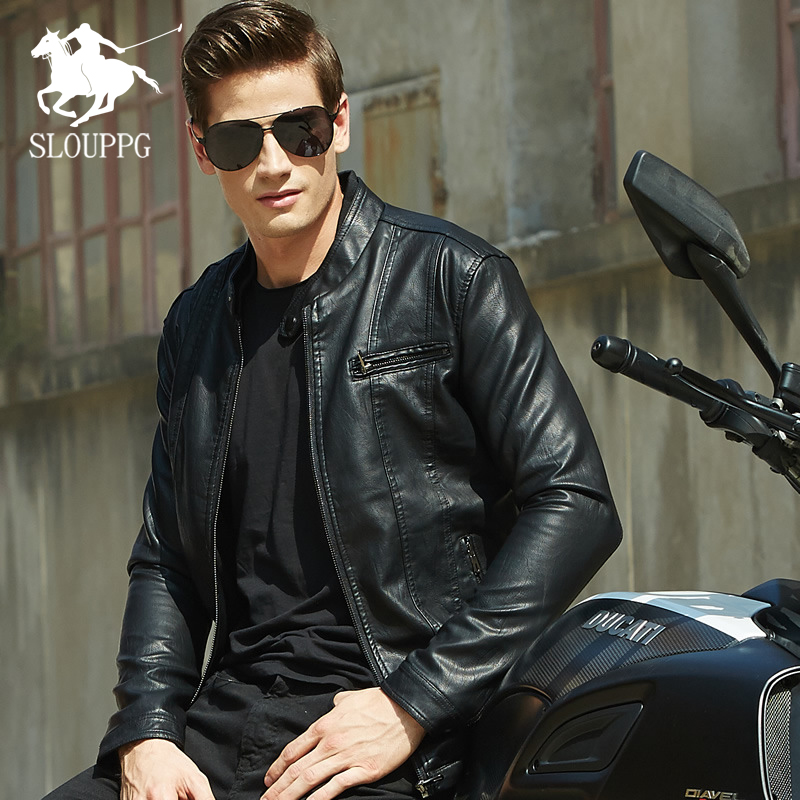 Spring And Autumn Thin Men's Collar Europe And The United States Solid Color PU Leather Jacket Youth Motorcycle Leather Jacket
