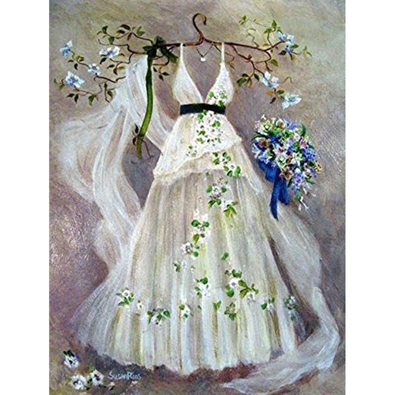 DIY 5D Diamond Painting Full Stick drill Wedding dress Embroidery Decor 65Y