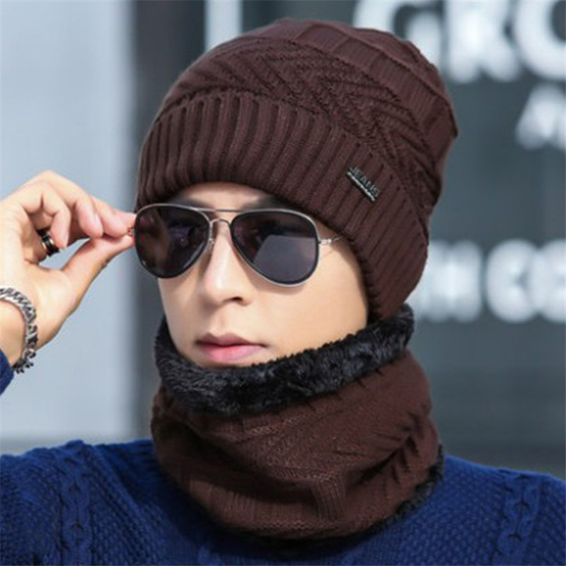New Winter Men Beanies Scarf Set Cotton Knitted Warm Hat And Neck Scarf Bonnet Winter Hats For Men Women Skullies Beanies Hats