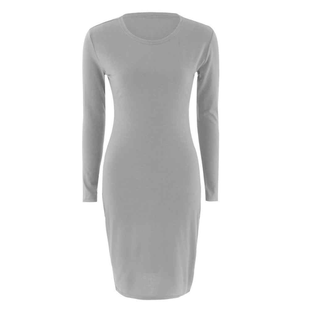 2019 осеннее горячее облегающее платье для женщин, однотонные шикарные вечерние платья, повседневная одежда для сна, платье в крапинку