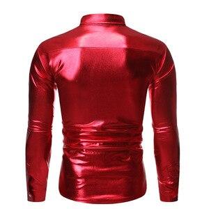 Image 2 - גברים של מתכתי מבריק אדום נצנצים דיסקו חולצה 2019 מותג ארוך שרוול חתונה מסיבת נצנצים חולצות ריקוד נשף Clubwear תלבושות S XL