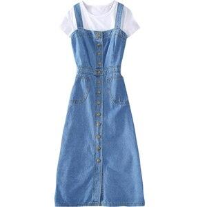 Женский джинсовый сарафан, Синий Облегающий сарафан трапециевидной формы на пуговицах, вечерние платья, весна-лето 2020