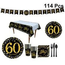 114 stücke Glücklich 60th Geburtstag Dekorationen Party Banner Geschirr Set Papier Platten Bunting Glücklich Geburtstag Partei Liefert Servietten Set