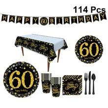 114pcs Gelukkig 60th Verjaardag Decoraties Party Banner Servies Set Papieren Borden Bunting Gelukkige Verjaardag Feestartikelen Servetten Set