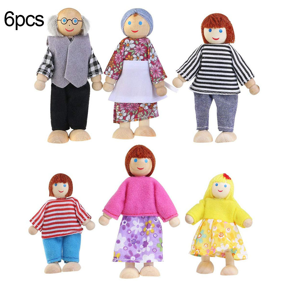 Cute Wooden Happy Family Dressed Puppet Flexible Joints Doll House Accessory Kids Toy Birthday Gift 8