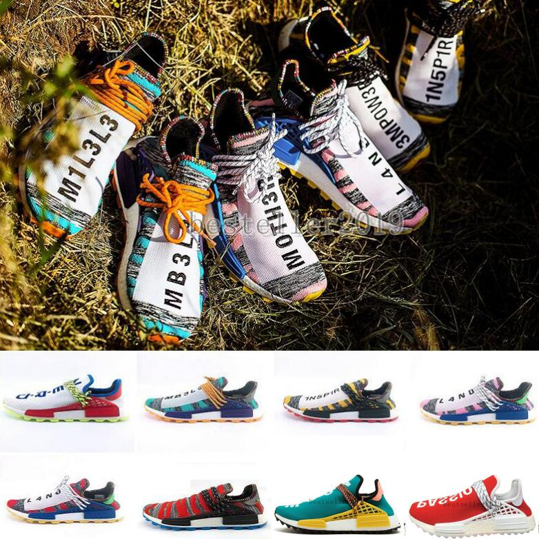 BRAND TR Mens Running Shoes Pharrell Williams Human Races Pharell Williams Men Trainers Sports Designer Sneakers Zapatos 40-45