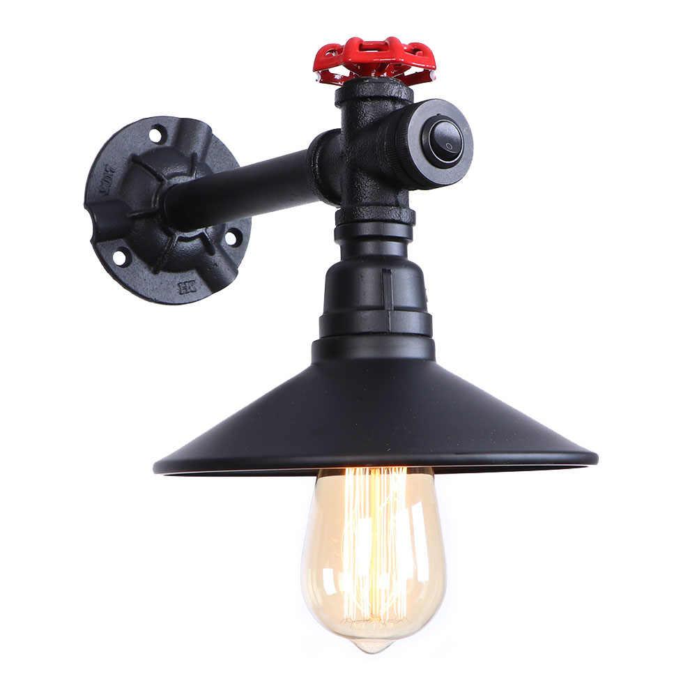 Простой черный железный светодиодный винтажный настенный светильник промышленная водопроводная труба настенная лампа Лофт Декор Эдисона бра для коридора прикроватный Домашний Светильник