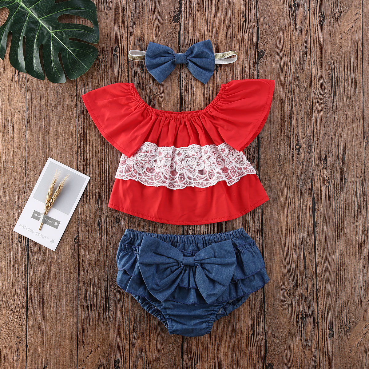 Emmababy Newborn Baby Girl Clothes Off Shoulder Lace Flower Sleeveless Tops Bowknot Short Pants Headband 3Pcs Outfits Clothes