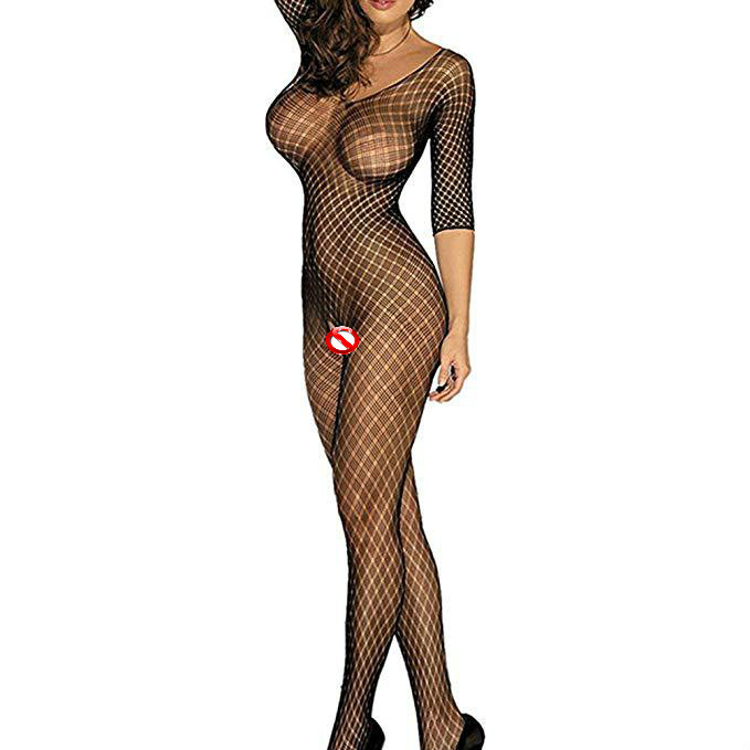 H874bf1cfb4c9421db77913b15ebb61baq Wontive Sexy Fishnet Bodysuit Women Sex Clothes See Through Open Crotch Body stockings Mesh Hollow Out Lingerie Costumes