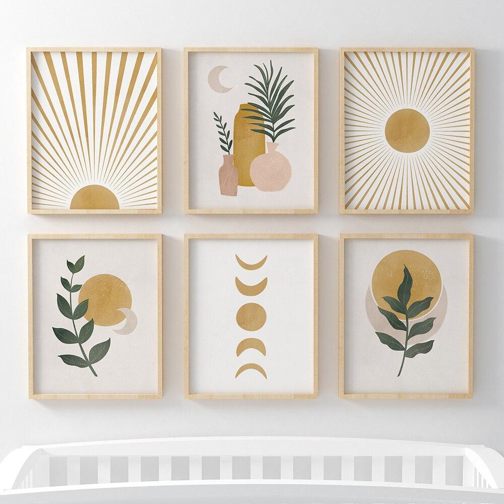 Постеры и принты в стиле бохо с абстрактным пейзажем в скандинавском стиле, желтая галерея, настенная живопись на холсте, линия солнца и растений, художественные картины, Декор