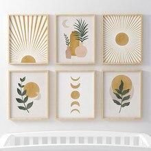 Affiches et imprimés de paysage nordique abstraite de Boho, toile d'art murale de galerie jaune, peinture de plante de soleil, feuille, ligne d'art, décor d'images