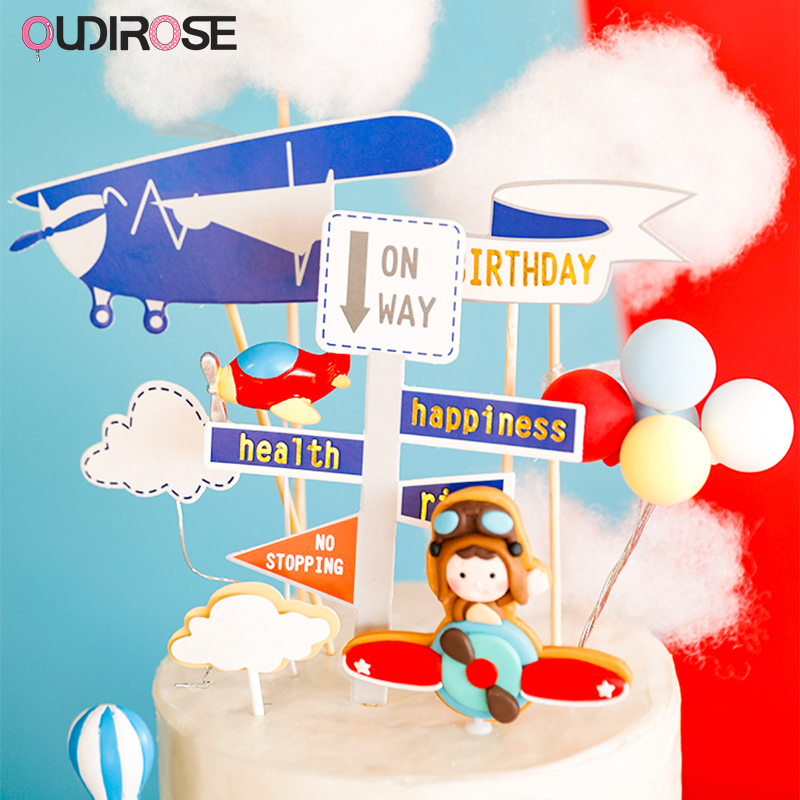 Boys Airplane Theme Cake Decoration Cartoon Clouds Aircraft Happy Birthday Cupcake Topper Baby Party Baking Decor Supplies image