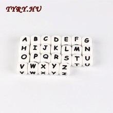 10pc Brief Silikon Perlen Baby Beißring Perlen Kauen Alphabet Perlen Für Personalisierte Name DIY Zahnen Halskette 12mm