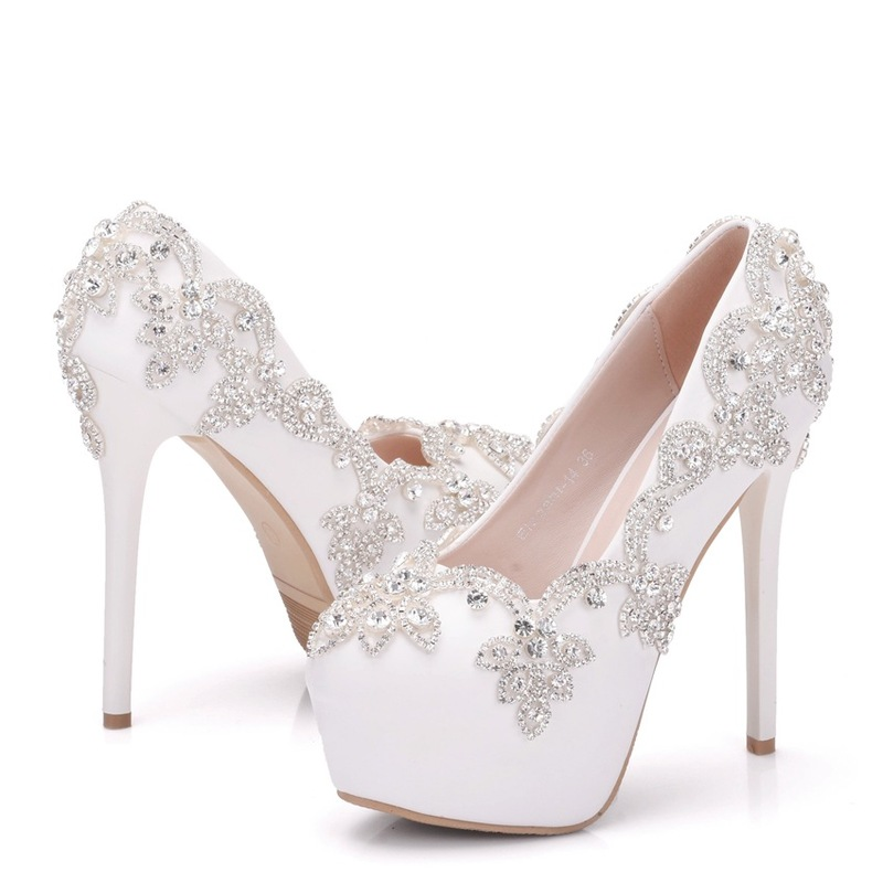 Fashion Women Pumps Shoes PU Rhinestone Waterproof Platform Round Toe Thin Heels 14CM High Heels Women's Wedding Shoes