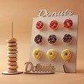 Деревянная настенная подставка для пончиков, держатель для пончиков, украшение для детского дня рождения, деревянная детская вечеринка, По...