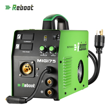 цена на Reboot MIG Welder MIG175 DC 220V 5KG Flux Core Wire And Solid Wire IGBT Inverter Welding Machine MMA MIG MAG Gas Gasless