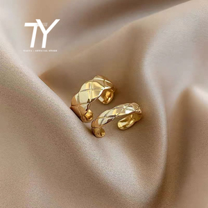 European and American retro gold stripe open ring Korean sexy female ring fashion classic student index finger adjustable ring