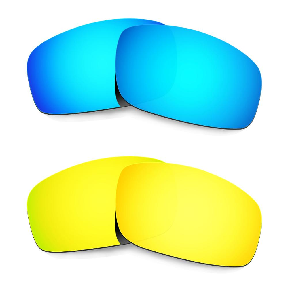 Hkuco For Monster Pup Sunglasses Polarized Replacement Lenses 2 Pairs - Blue&Gold