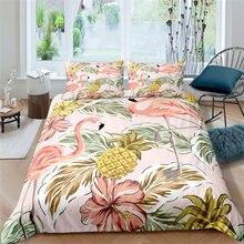 Luxury 3D Flamingo Printed 2/3Pcs Bedding Set Animal Pattern Duvet Cover Pillowcase Home Textile Queen and King EU/US/AU Size