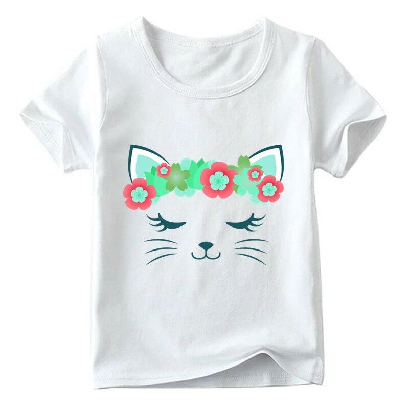 Children Cute Flower Cat Face Funny T shirt Summer Baby Boys/Girls Cartoon Tops Short Sleeve T-shirt Kids Clothes 10