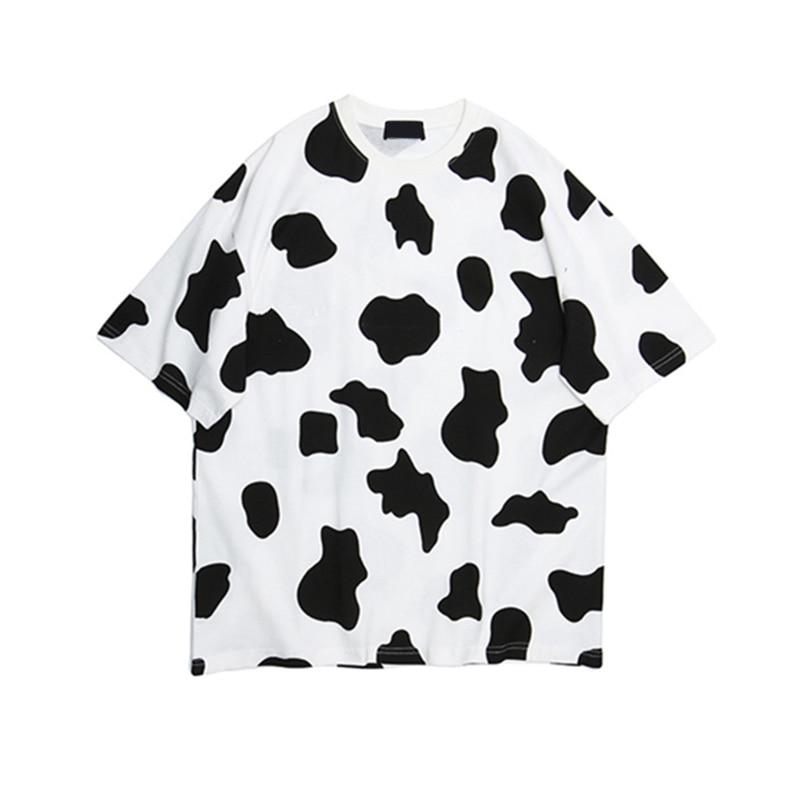 Корова штамп поощрительные летнее платье для женщин, комплект из 2 предметов, спортивные костюмы на каждый день, с коротким рукавом, для девушек, для девочек комплекты из двух предметов, модный спортивный брючный костюм