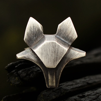 Originally hand designed 925 pure silver goat ring with male and female personality geometry