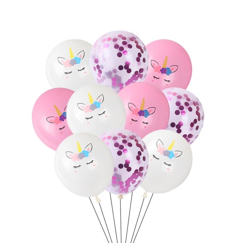 10 шт./лот 12 дюймов розового цвета с принтом белого единорога латексных шаров в форме единорога украшения конфетти воздушные шары на день рож...