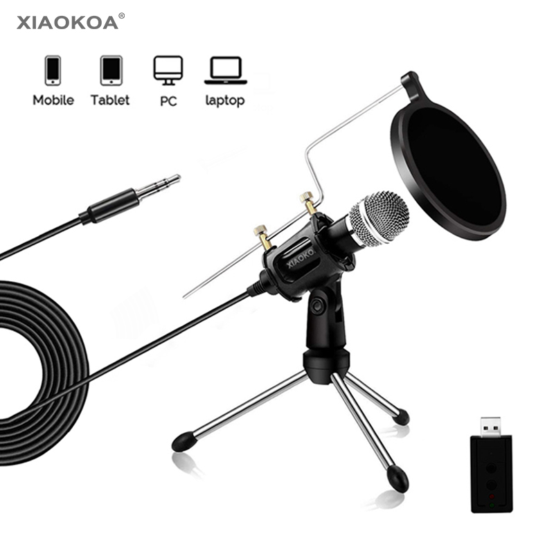 Condenser Microphone For Phone With Stand For Computer Iphone Recording Podcasting Mobile Android Karaoke Usb Microfono XIAOKOA