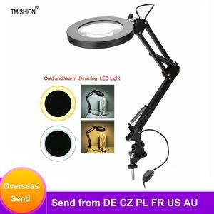 Image 1 - 5X lampa powiększająca mocowanie zaciskowe lupa z lampą LED lampy Salon Eyeliner Manicure tatuaż pielęgnacja skóry lampa z upiększającym efektem/lampa stołowa narzędzia do tatuażu
