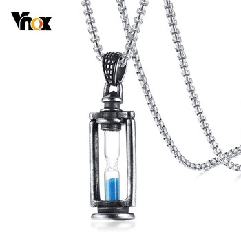Vnox mémoire sablier hommes collier Vintage acier inoxydable pendentifs promesse amour souvenir cadeaux