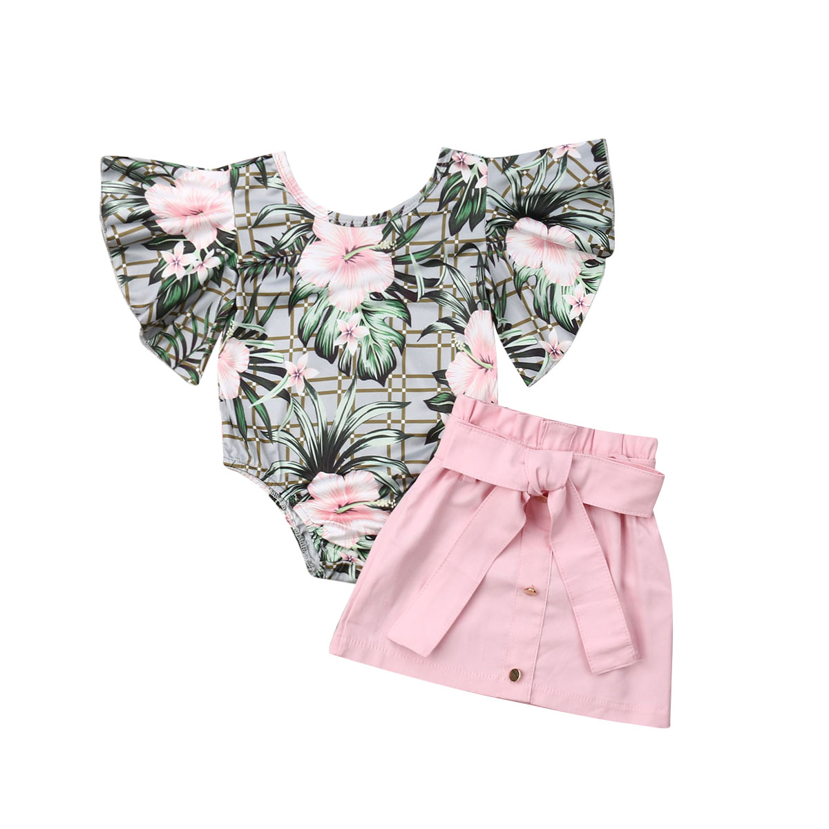 Baby Girl 12M-4T Kids Summer Toddler Outfits Clothes Ruffle Romper Floral Tops+Skirt 2PCS Set Cotton Outfit Clothes
