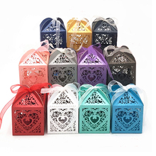 10/50/100pcs Love Heart Laser Cut Hollow Favor And Gifts Box Candy Boxes DIY With Ribbon Baby Shower Wedding Party Supplies 25pcs laser cut hollow love heart chocolate candy box with ribbon happy eid mubarak ramadan party decoration diy
