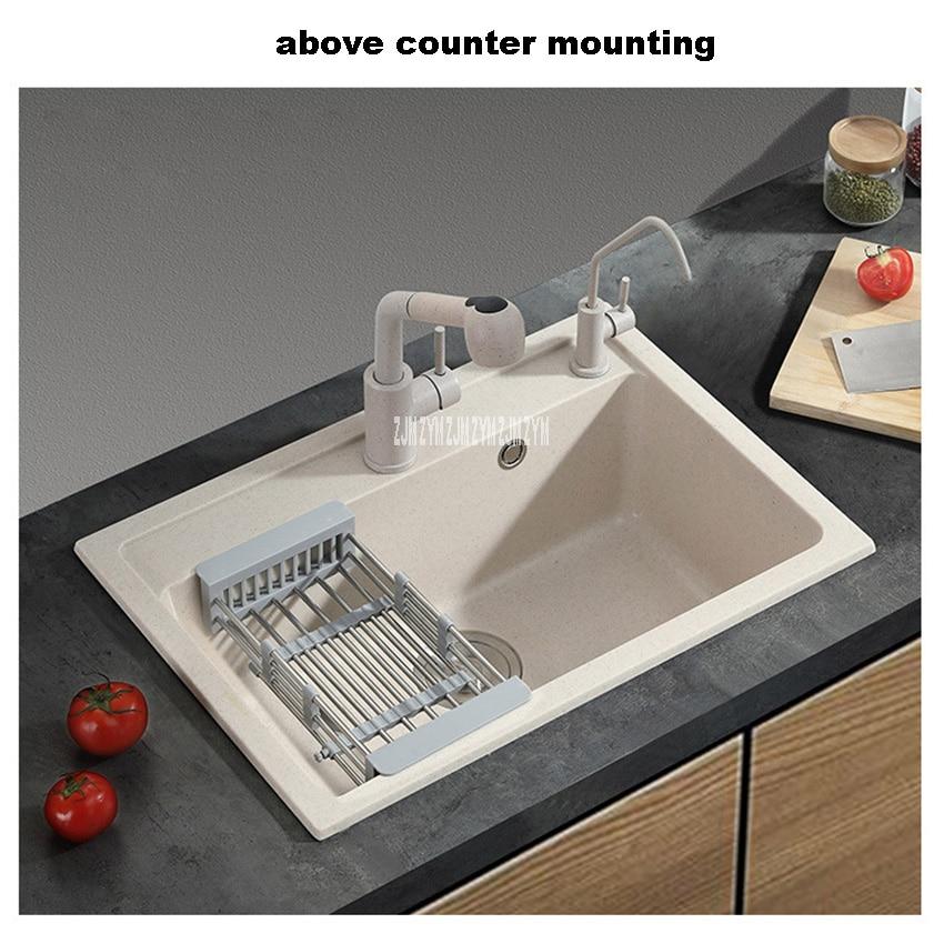 single slot vegetable washing basin multifunctional home thickening kitchen quartz sink matte finish round corner with faucet