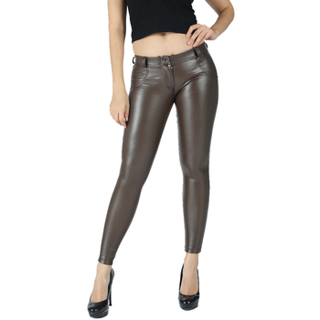 Melody 2020 New Style Maroon Middle Waist Pencil Pant Women Faux Leather PU Long Trousers Casual Sexy Fashion Exclusive Design