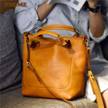 Ladies Handbag Cowhide Luxury Messenger-Bags Shoulder Vintage Genuine-Leather High-Quality