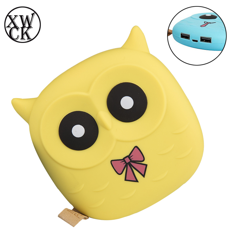 Cute Owl Cartoon Mobile Power Bank <font><b>12000mAh</b></font> Charger External Battery Dual USB for Cellphone <font><b>Smartphone</b></font> Poverbank for iPhone XS X image