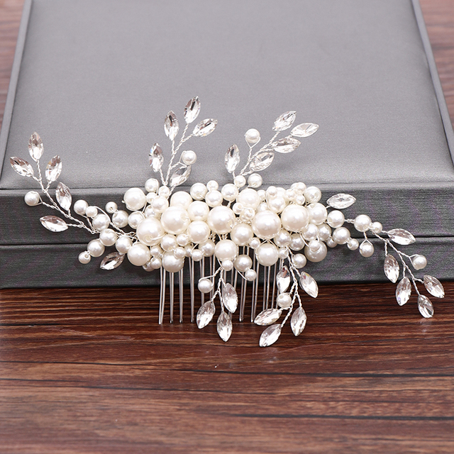 Wedding Hair Combs Bridal Hair Accessories For Women Hair Jewelry Silver Color Pearl Rhinestone Head Jewelry Women Accessories