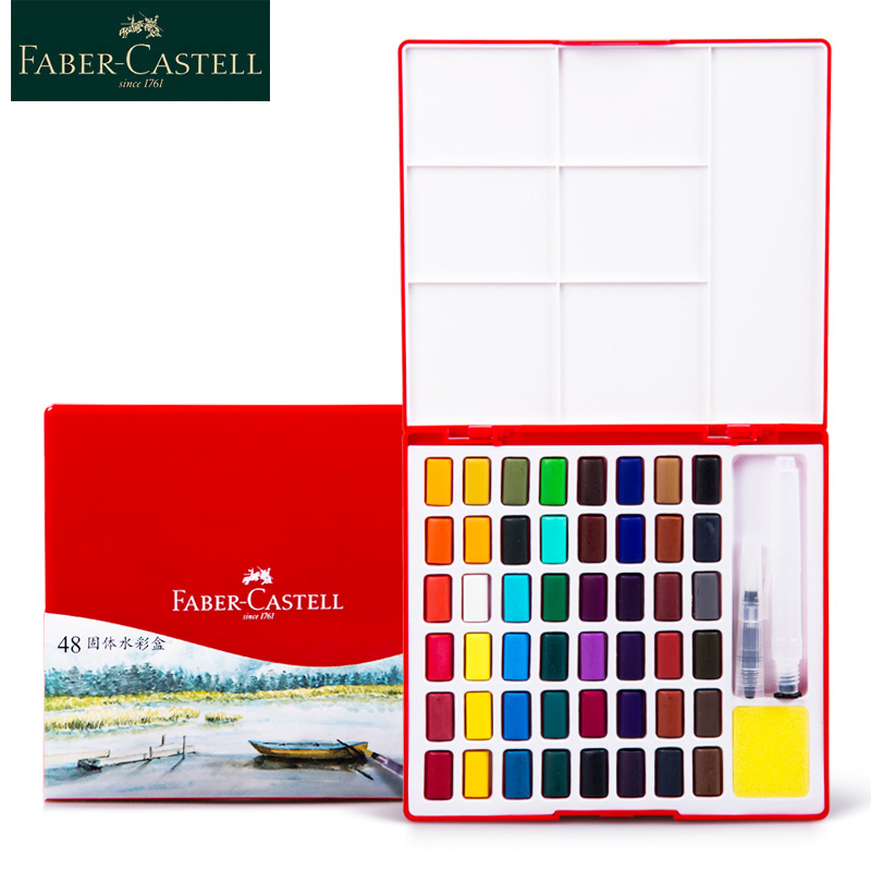 Faber Castell 24/36/48 Colors Transparent Solid Watercolor Paint Set Travel Watercolor Pigment For Drawing Painting Dropshipping