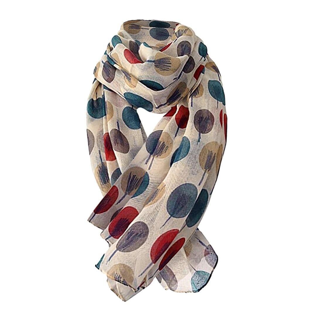 25 # шифоновая блузка в горошек с шарфы шелковый шарф для женщин рисунок деревья Длинный мягкий шарф-шаль шарфы для женщин пляжные Стиль в вин...