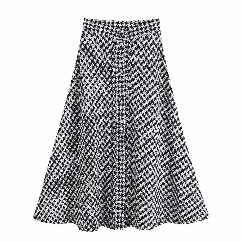 Elegant Tweed Houndstooth Skirt Party Skirt Empire Women Split A-Line Long High Waist Skirts