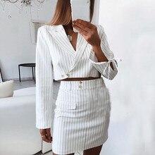 Комплект из 2 предметов с юбкой женский модный комплект с длинными рукавами в Вертикальную Полоску, комплект лиф на резинке+ мини юбка, комплект с юбкой Ropa De Oficina Mujer женские юбочные костюмы E1