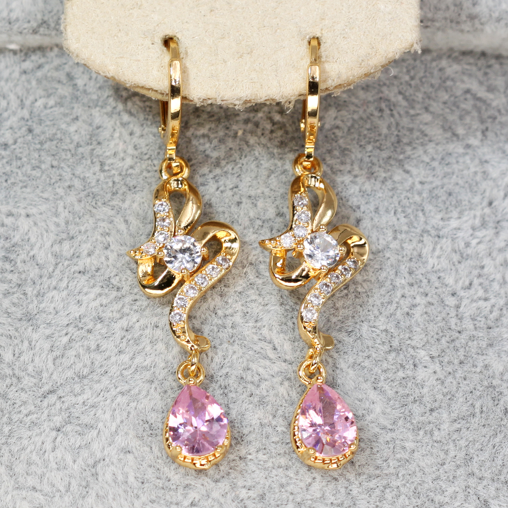 H874df13497f245b5964e2e5c42a88862z - Trendy Vintage Drop Earrings For Women Gold Filled  Red Green Pink Lavender Zircon Earrings Gold  Earring Wedding  Jewelry