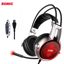 Somic E95X 5.2 Physical Vibration USB Gaming Headset Multi-channel Noise Canceling Luminous Headphones with Mic For PS4 Game