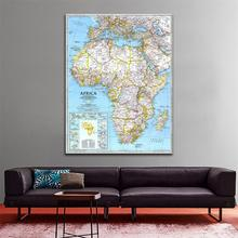 60x90cm Fine Canvas Wall Decor Painting HD Waterproof Map of Africa in 1990 Edition For Home Office