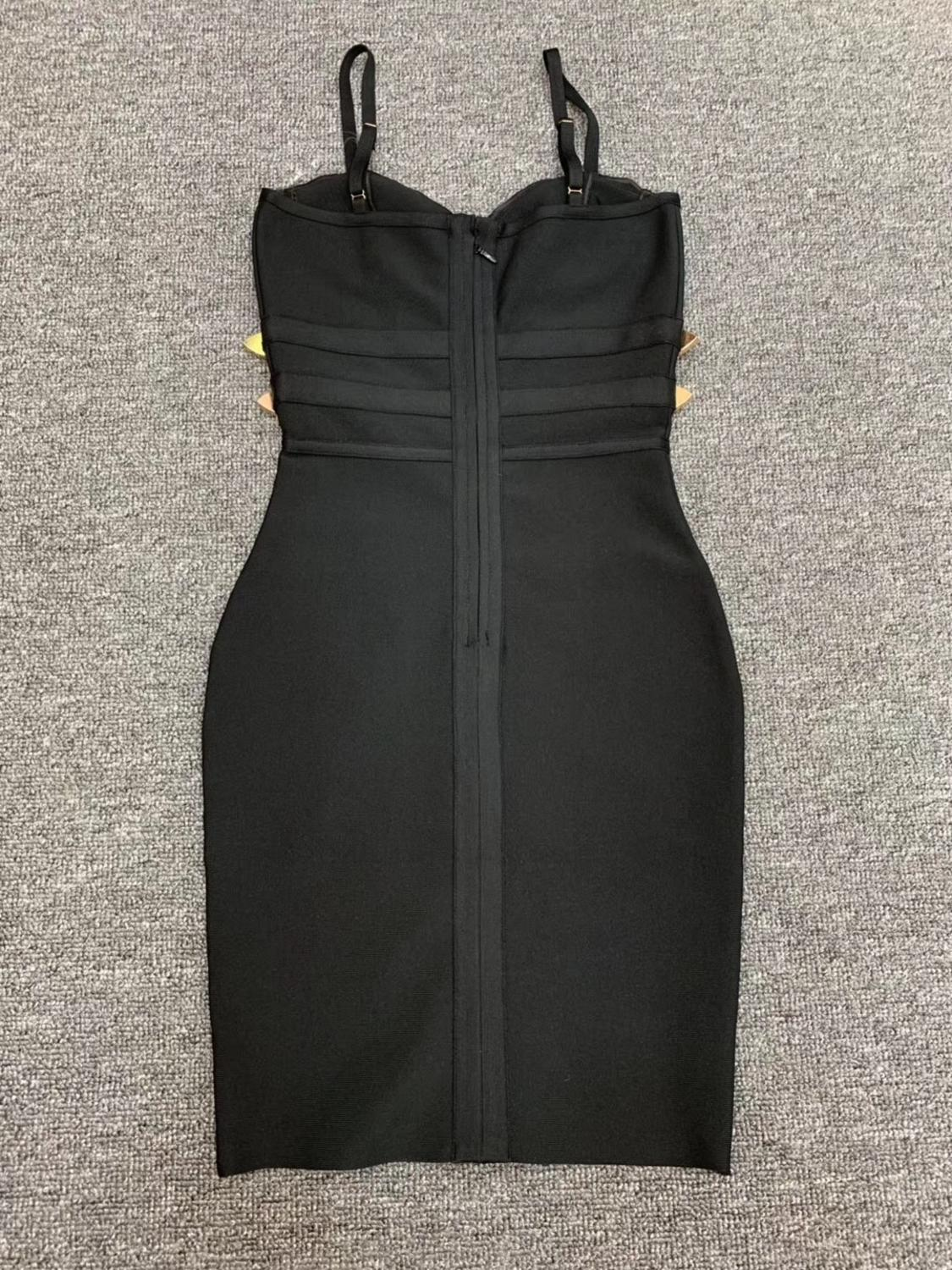 Women Summer Dress Sexy V Neck Backless Black White Bodycon Bandage Dress 2020 Designer Fashion Evening Party Dress Vestido 5