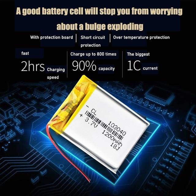 3.7V Lithium Ion Polymer Li Polymer 103040 1200mah Battery For LED Flashlight Remote Controller Selfie Stick 5